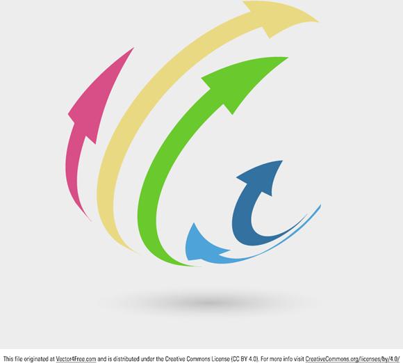 3d arrows logo concept Free vector in Adobe Illustrator ai.