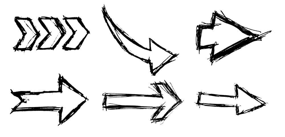 Hand Drawn Arrows PNG Image Transparent.