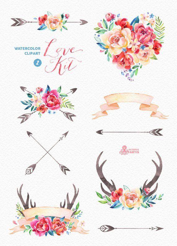 Love Kit 2. Watercolor Clipart, peonies, arrows, antlers.