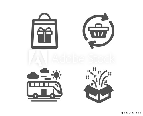 Set of Bus travel, Holidays shopping and Refresh cart icons.