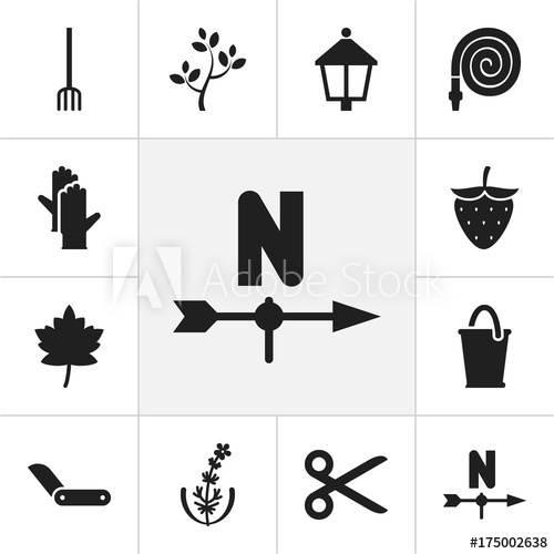 Set Of 12 Editable Gardening Icons. Includes Symbols Such As.