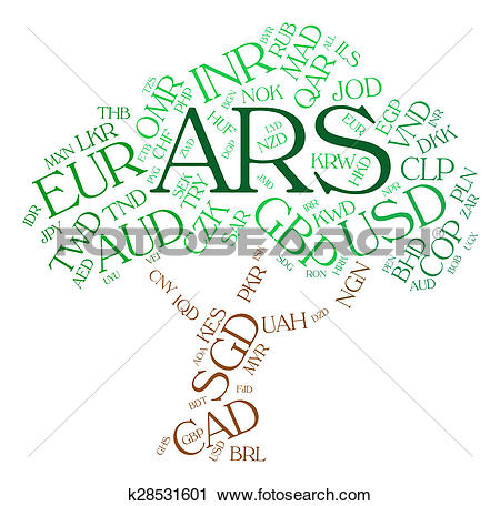 Clipart of Ars Currency Indicates Exchange Rate And Banknotes.