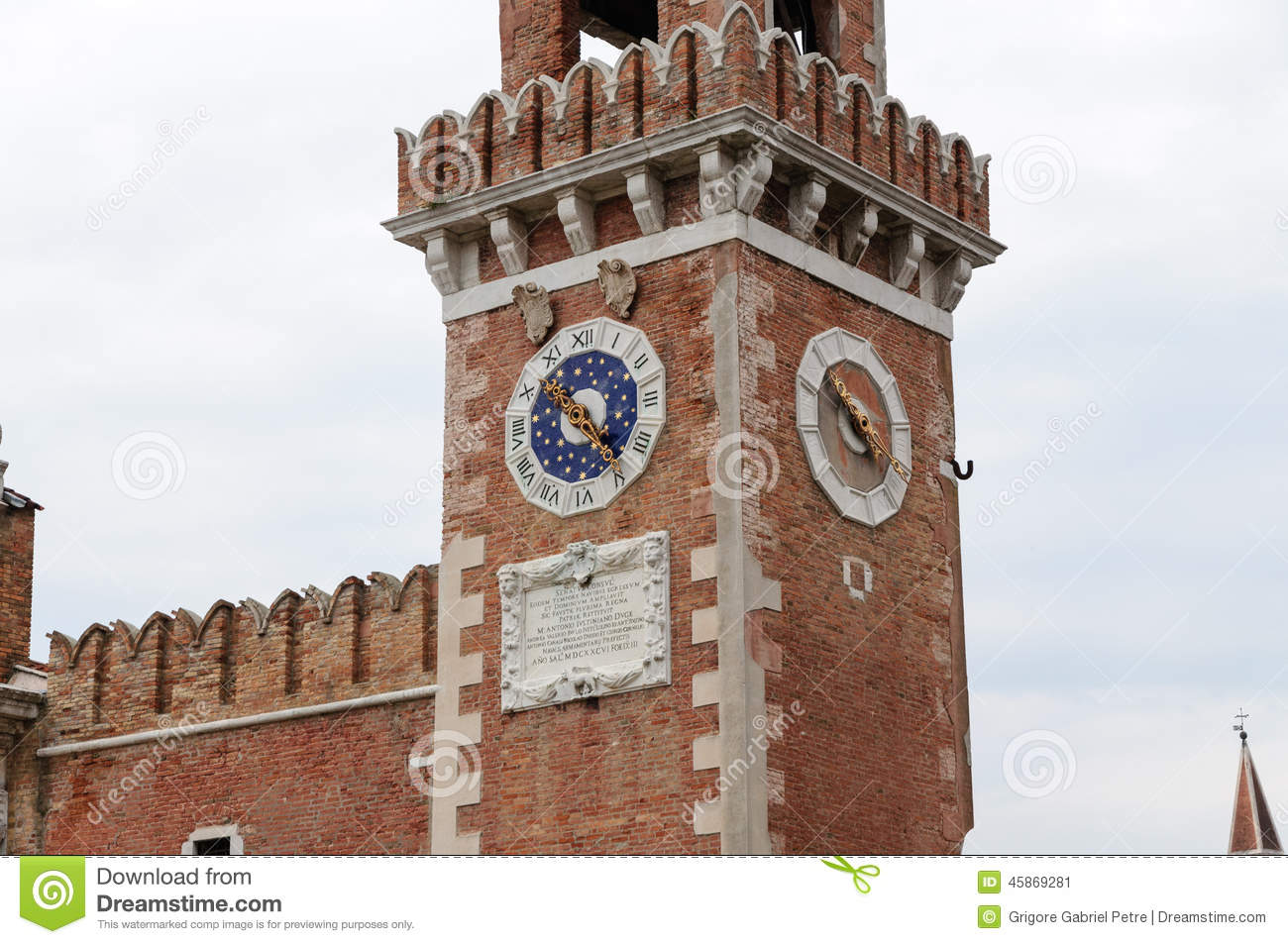 Arsenal Of Venice Clock Tower Stock Photo.