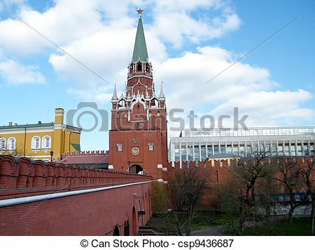 Picture of Troitskaya Tower between Arsenal and the Palace of.