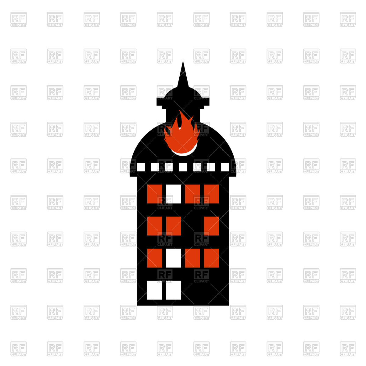 Burning building. Fire in facility. Arson. Stock Vector Image.