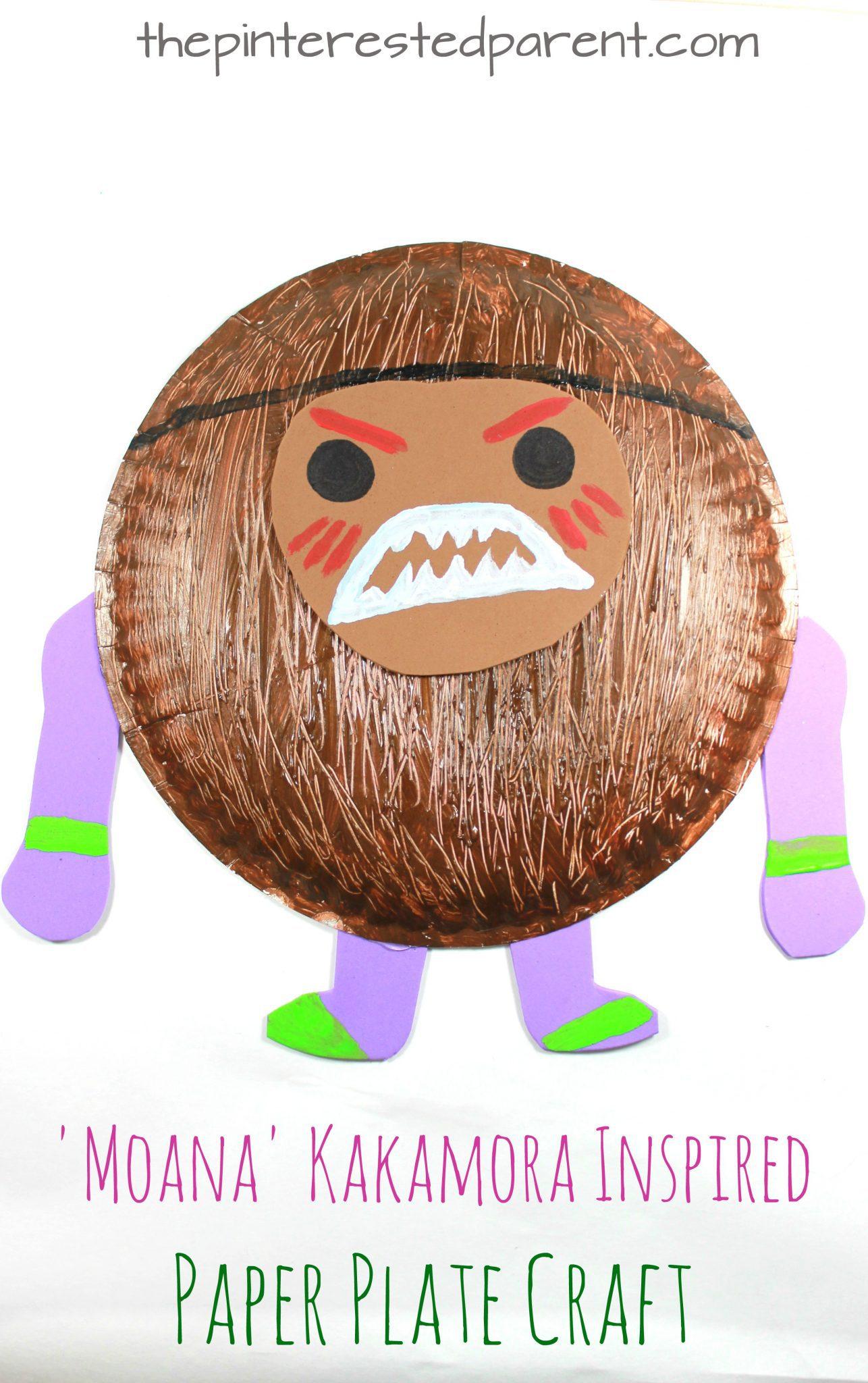 Moana' Kakamora inspired paper plate coconut pirate craft.