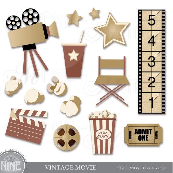 VINTAGE MOVIE Clip Art Digital Clipart, Instant Download, Cinema.