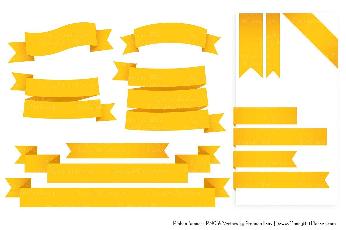 Yellow Ribbon Banner Clipart #theme#included#basics#color.