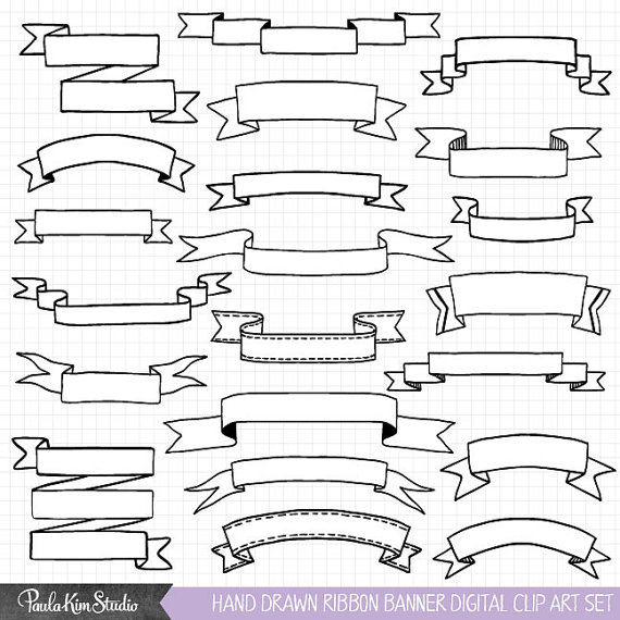Hand Drawn Clipart, Ribbon Banner Clip Art, Commercial Use.