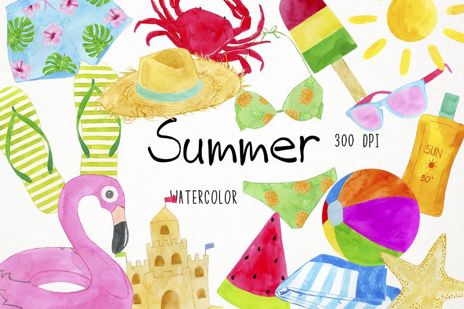 Watercolor Summer Clipart, Summer Clip Art, Beach Clipart.