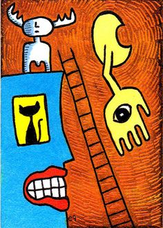 Details about love the one you're with e9Art ACEO Outsider Art.