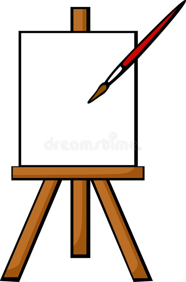 Blank Canvas Easel Stock Illustrations.