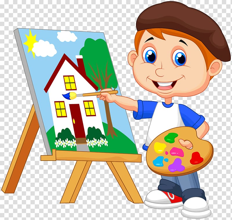 Boy painting house illustration, Painting Art Drawing, kids.