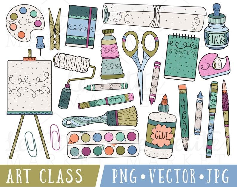 Art Supplies Clipart, Art Class Clip Art, Clipart for Teachers, Commercial  Use Clipart, Classroom Clipart, School Supplies Clipart PNG.