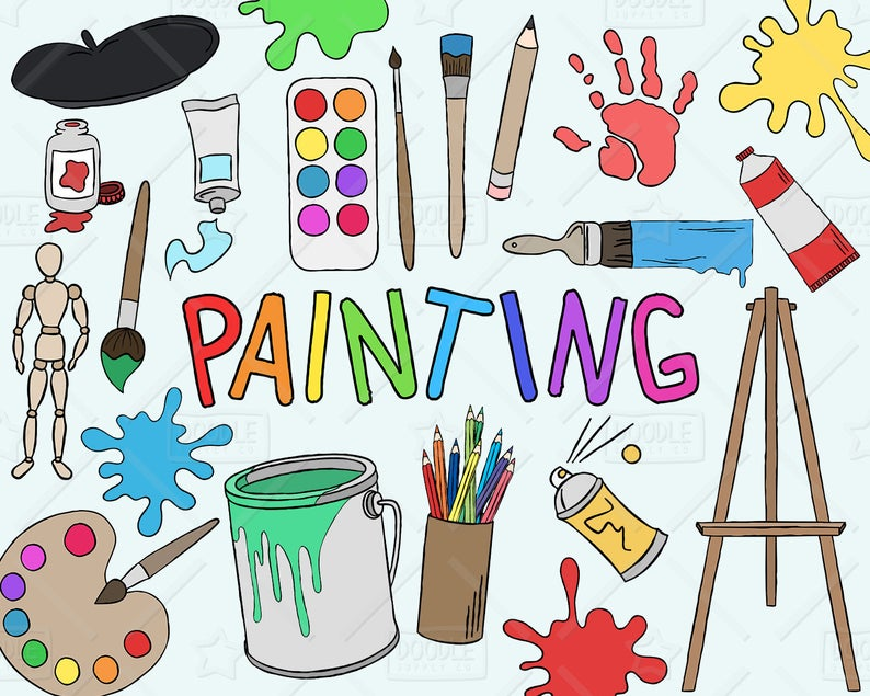 Painting Clipart Vector Pack, Art Clipart, Hobby Clipart, Painter Clipart,  Art Class Clipart, Painting Tools,Art Class Graphics,SVG,PNG file.