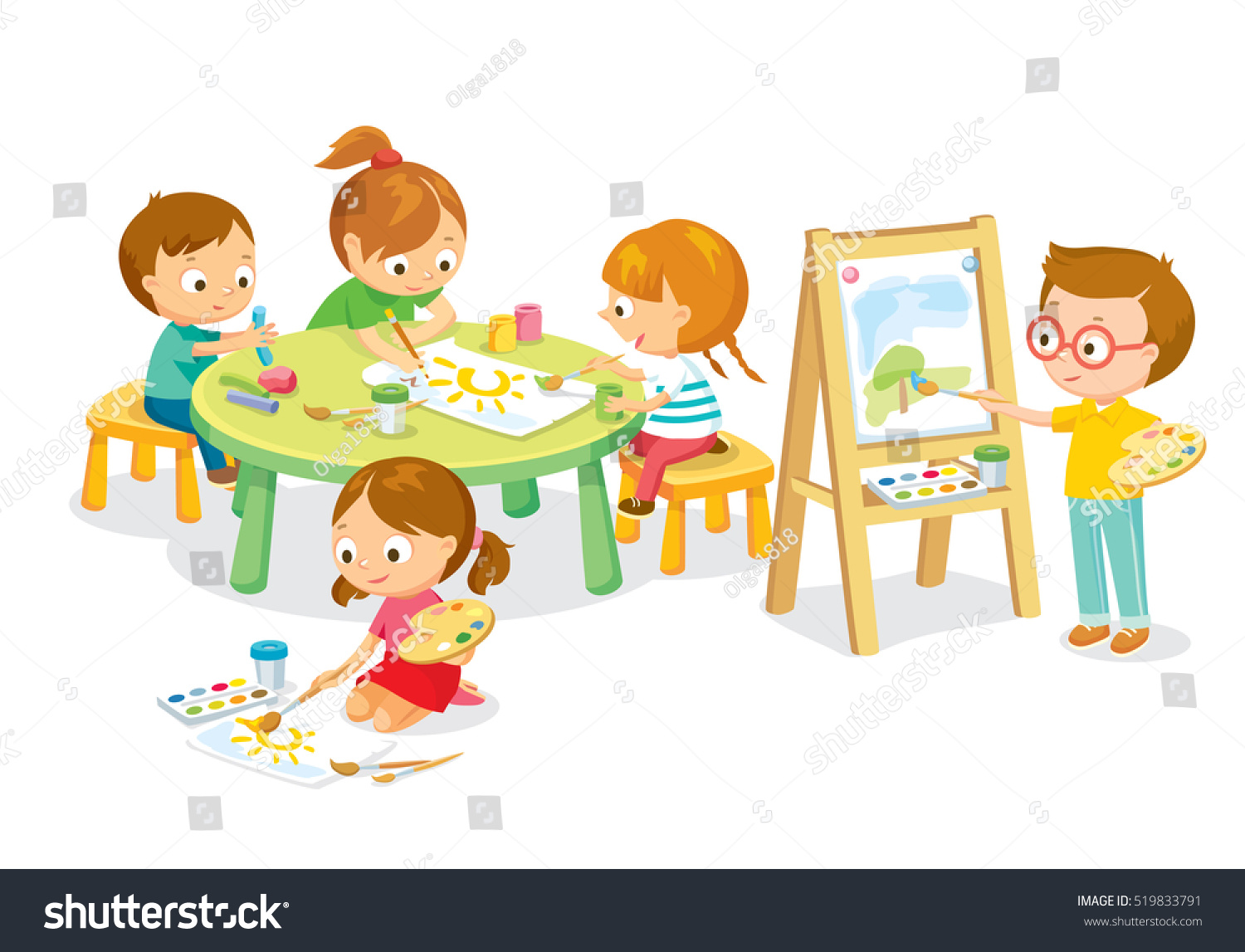 Children Drawing Art Class Stock Vector (Royalty Free) 519833791.