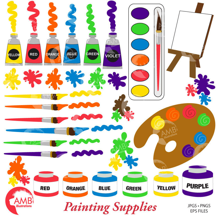 COMBO Painting Class Clipart and Digital Papers, School Clipart, Art  Classroom Papers and Clipart, AMB.
