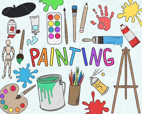 Painting Clipart Vector Pack, Art Clipart, Hobby Clipart.