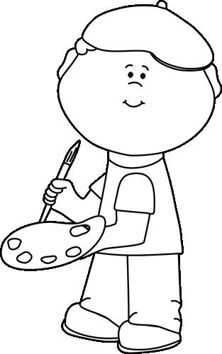 Black and White Boy Artist Clip Art.