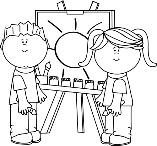 Black and White Black and White Kids Painting on Easel.