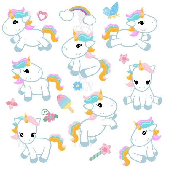 Cute Unicorn Clipart Cute Unicorn Clip Art Unicorn Digital.
