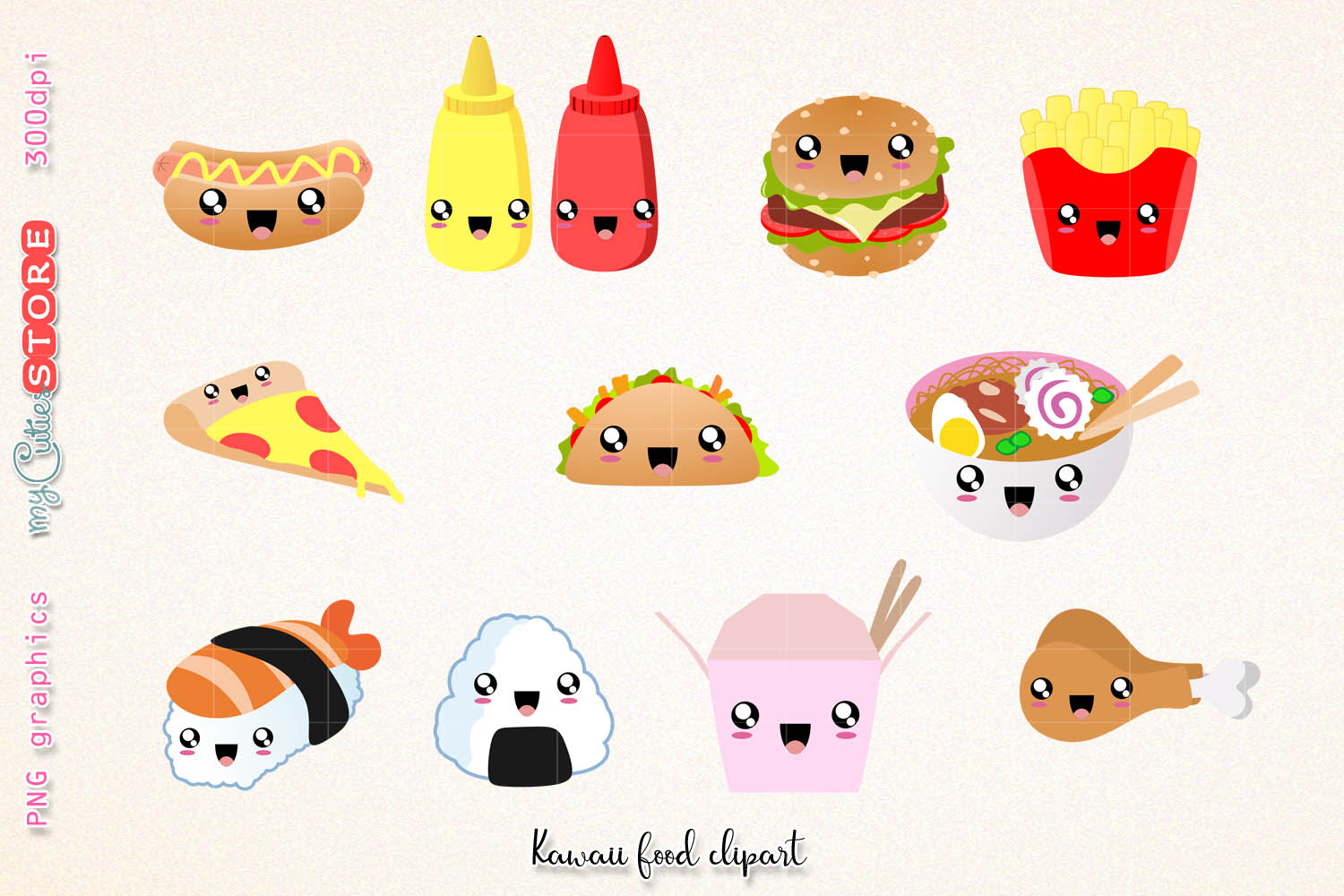 Fast food clipart, cute kawaii dinner clipart and digital stamps. png  graphics clip art set for planner stickers, scraps or digital planning..