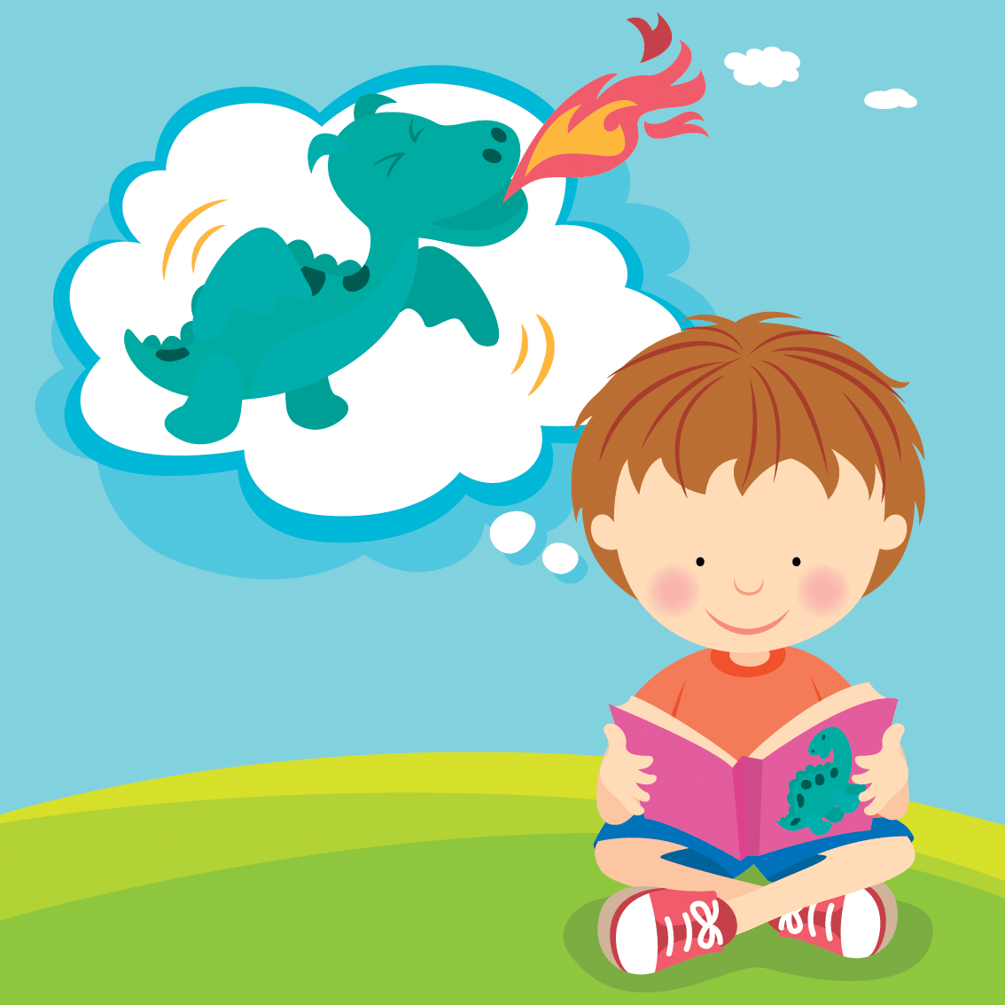 Boy Reading With Imagination.