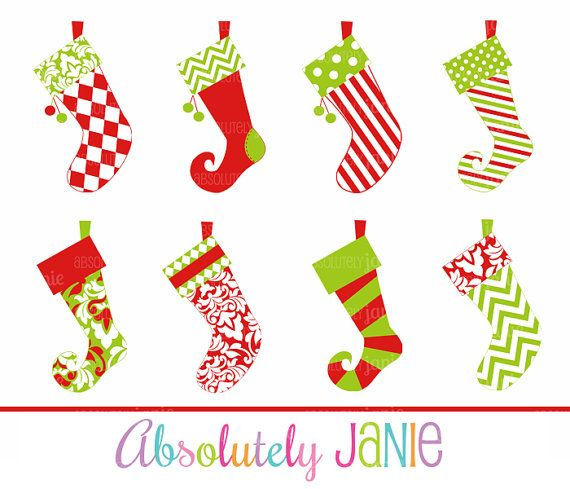 Christmas Stockings Clipart Whimsical Holiday by.