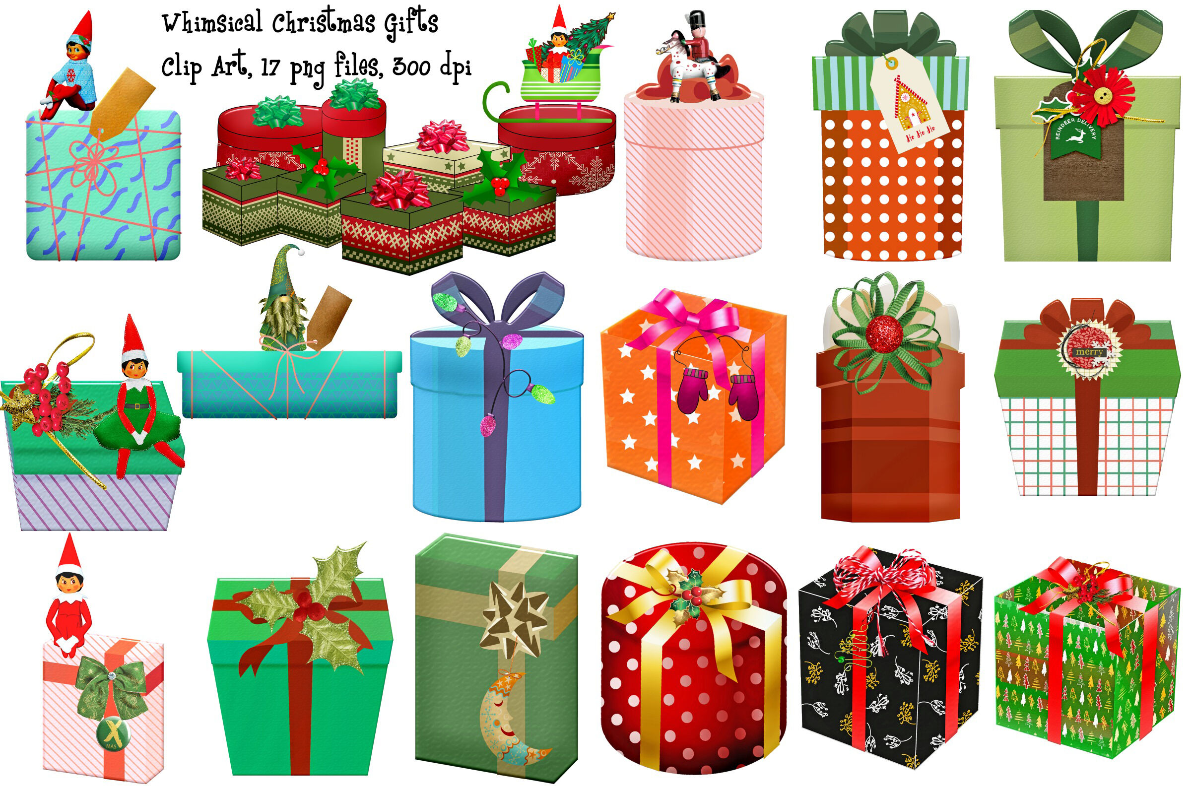 Whimsical Christmas Gifts Clip Art By Me and Ameliè.