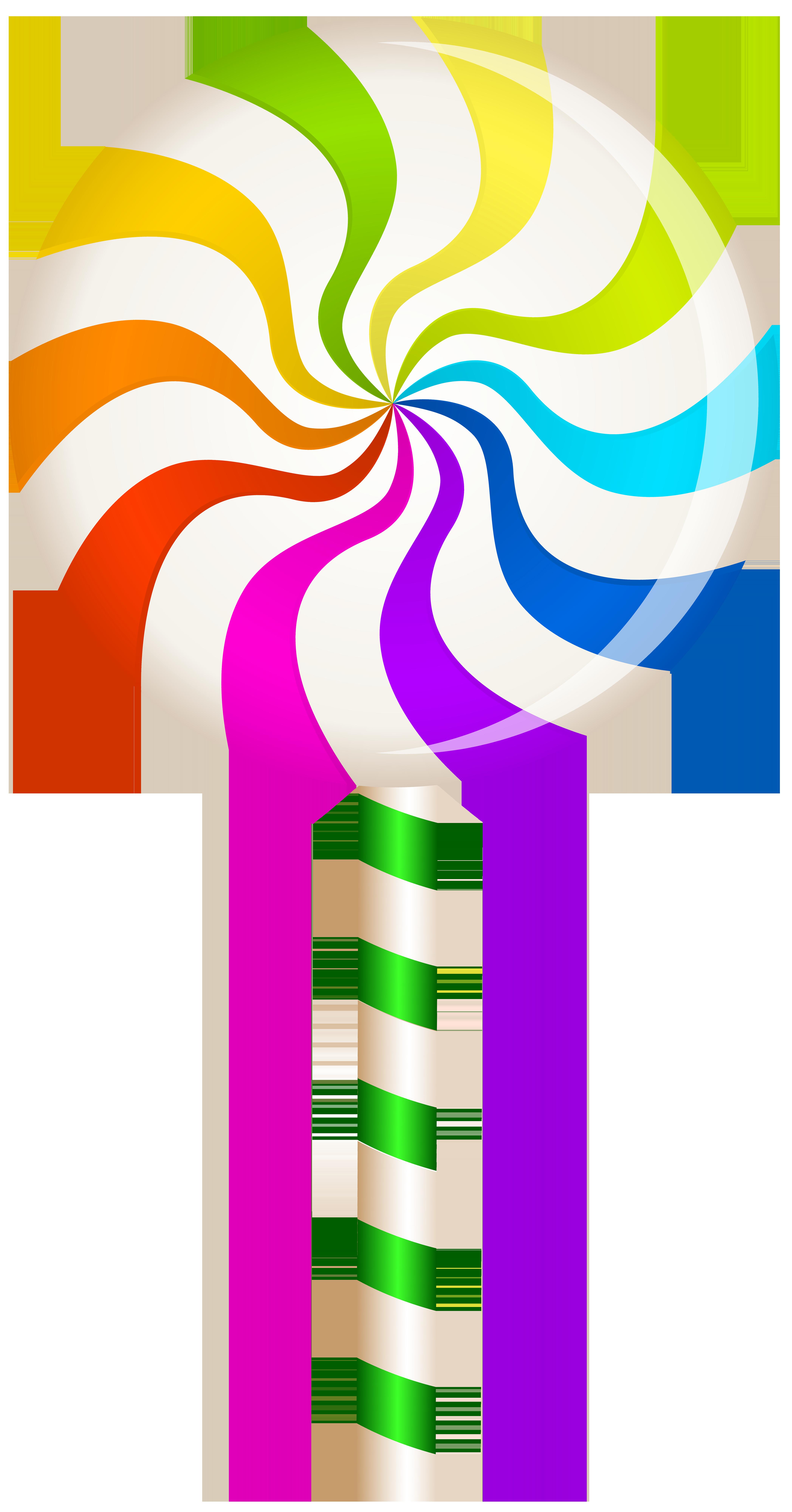Multicolor Swirl Lollipop PNG Clip Art Image.