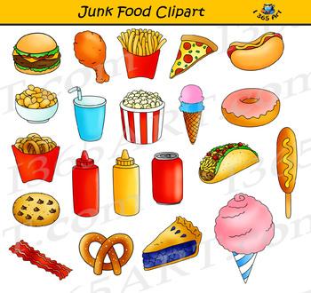 Junk Food Clipart Set.