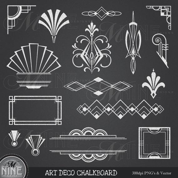 CHALK ART DECO Clipart: Chalkboard Art Deco Clip Art Design.