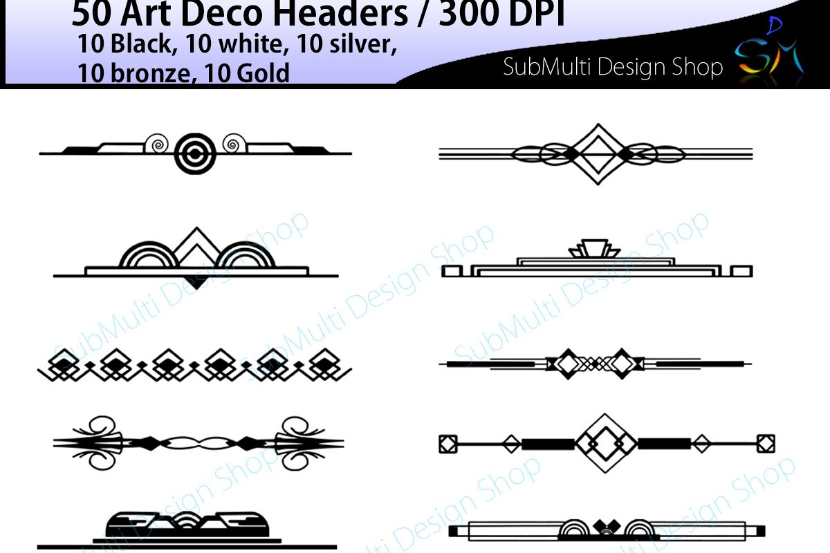 Art deco art deco headers art deco header clipart art deco digital clipart  art deco frames High Quality template headers.