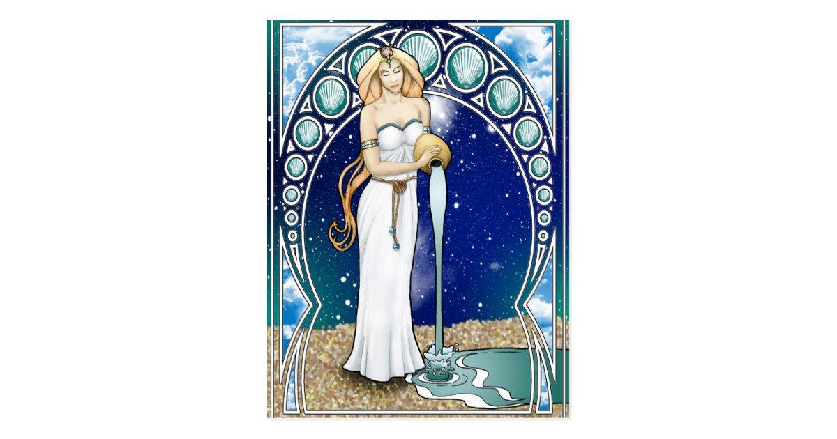 Art Nouveau Aquarius Postcard.