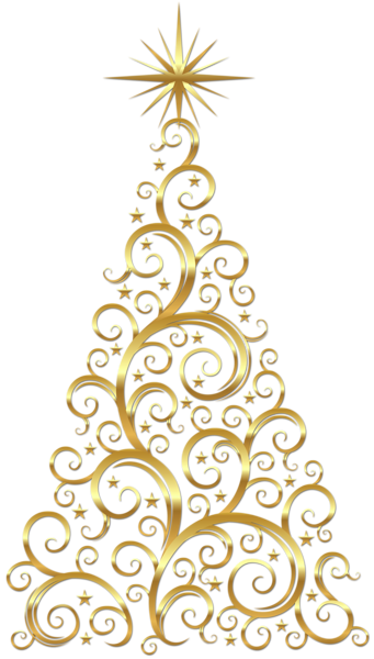 Transparent Gold Deco Christmas Tree Clipart..