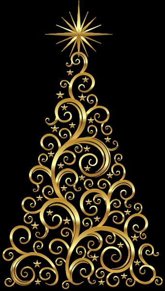 Transparent Gold Deco Christmas Tree Clipart..