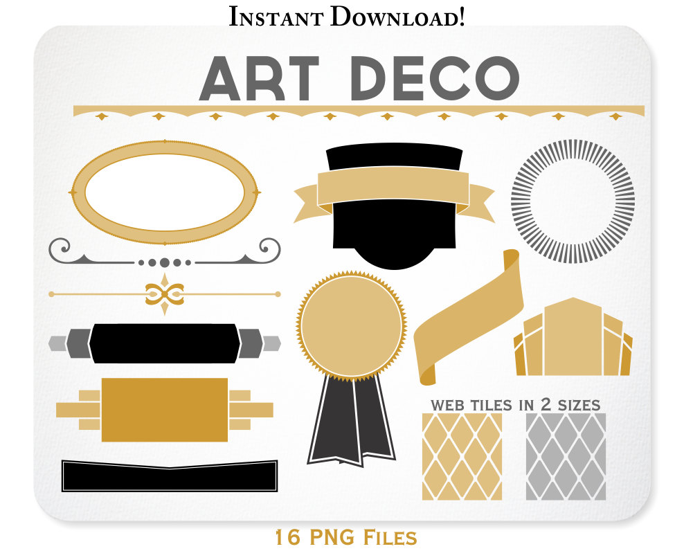 Art Deco Clipart Design Elements Web Tiles Blog Graphics.