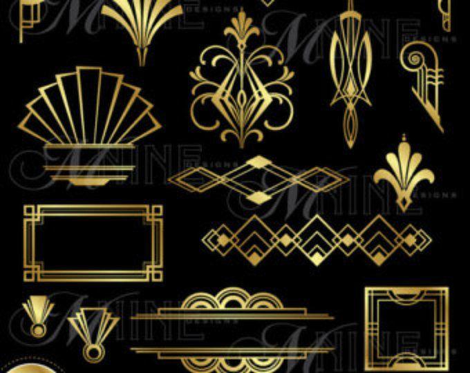 GOLD DECO HEADERS Clip Art: Art Deco Clipart Instant.