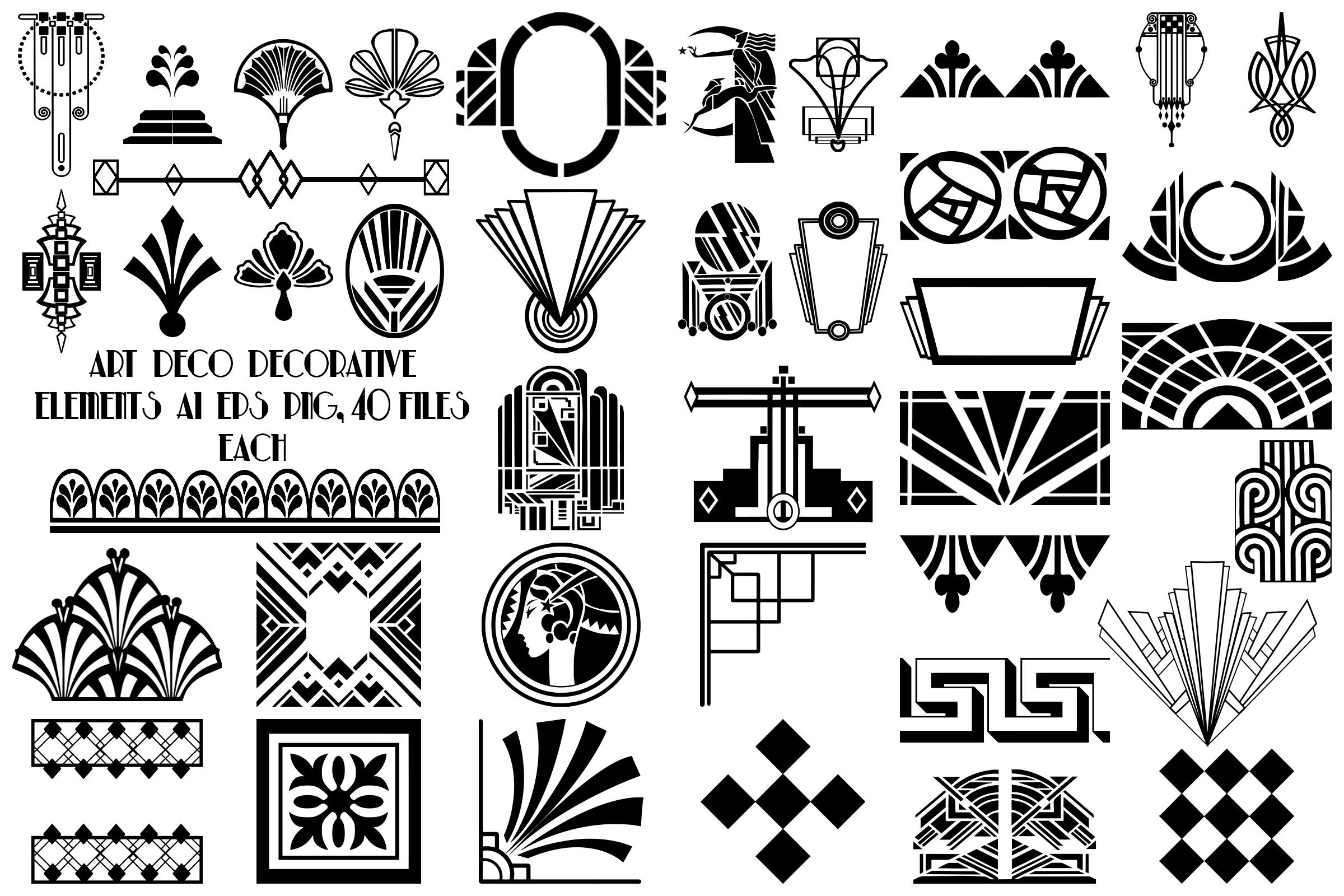 Art Deco Decorative Elements AI EPS PNG, Gatsby Style.