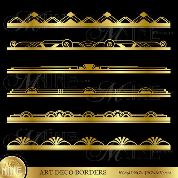 Gold ART DECO BORDER Clip Art: Art Deco Design Elements.