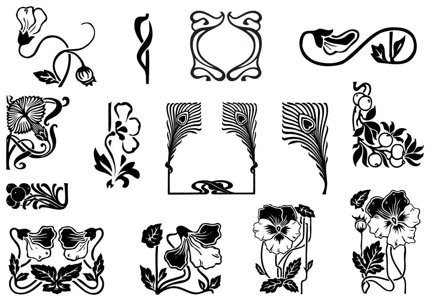 Art Nouveau Ornament Vector Pack. Choose from thousands of.