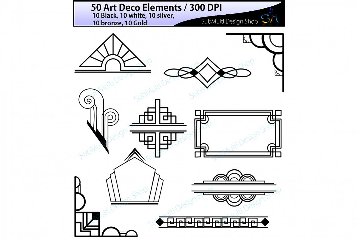 Art deco art deco elements art deco element clipart art deco element in  gold, bronze, silver , black and white colors High Quality.