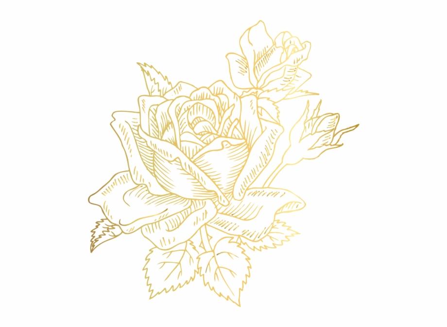 Gold Deco Rose Png Clip Art Image Portable.