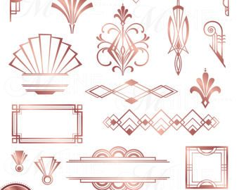 Bronze ART DECO CORNERS Clipart Digital Clip Art, Instant.