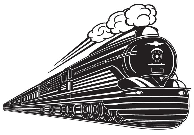 Art Deco Train Wall Sticker.