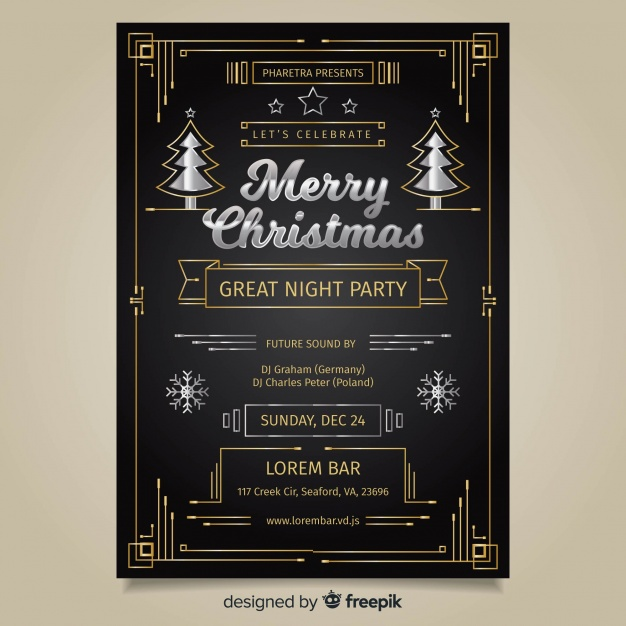 Art deco christmas party poster template Vector.