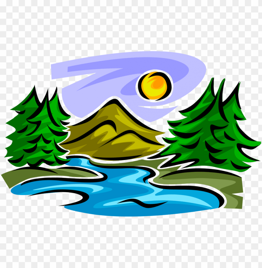 vector illustration of idyllic mountain stream creek.