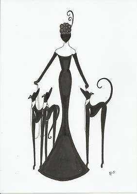 Original Art Deco Painting Picture Lady Figure Woman.
