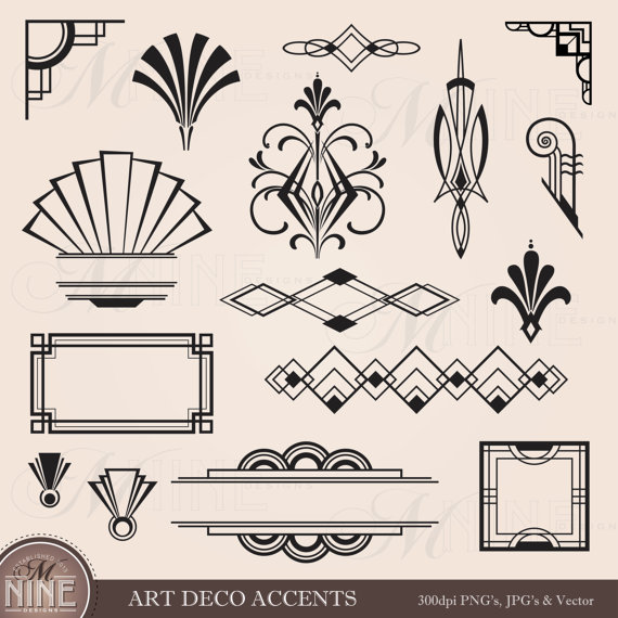 Digital Clipart ART DECO Design Elements Frames / Borders.