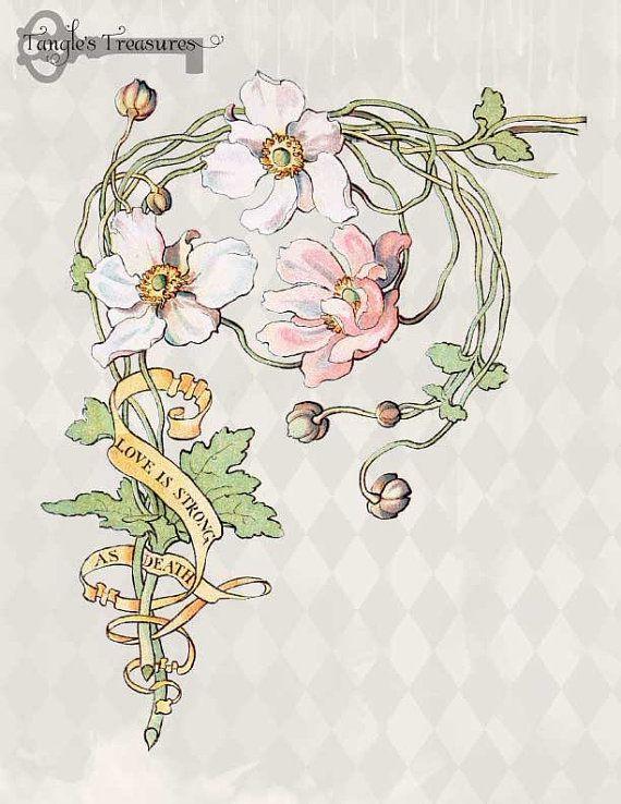 Vintage Art Nouveau Watercolor Anemone Clipart Set.